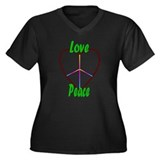 Love & Peace 2 Women's Plus Size V-Neck Dark T-Shi