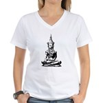 Buddha (Black) Women's V-Neck T-Shirt