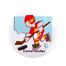 "I Love Hockey 3.5"" Button"