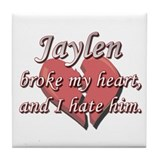 Jaylen broke my heart and I hate him Tile Coaster