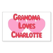 Grandma Loves Charlotte Rectangle Decal