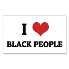 I Love Black People Rectangle Decal