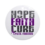 HOPE FAITH CURE Cystic Fibrosis Ornament (Round)