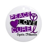PEACE LOVE CURE Cystic Fibrosis (L1) Ornament (Rou