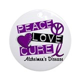 PEACE LOVE CURE Alzheimer's Disease Ornament (Roun