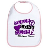 PEACE LOVE CURE Alzheimer's Disease Bib
