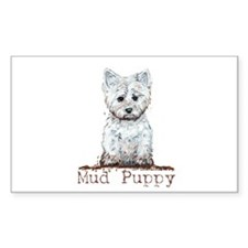 Mud Puppy Westie Terrier Rectangle Decal