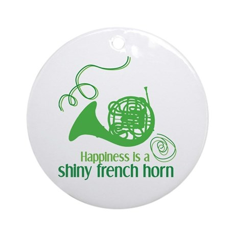 Shiny French Horn Ornament (Round)