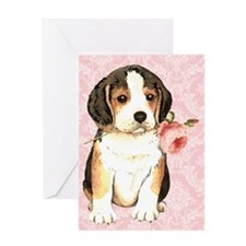 Beagle Rose Greeting Card