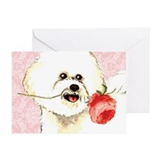 Bichon Rose Greeting Card