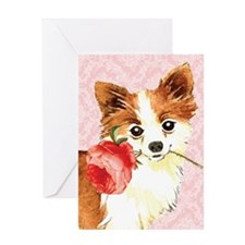 Long Coat Chihuahua Rose Greeting Card