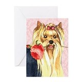 Yorkie Rose Greeting Card