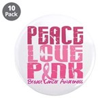 "PEACE LOVE PINK 3.5"" Button (10 pack)"
