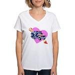 EMS Care Heart Women's V-Neck T-Shirt