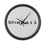 Shemail Large Wall Clock - Shemail email for the feminine geek/nerd/neek. Are you a computer genius, or brilliant creative? Shemail your email from UranusCafe.com - Availble Colors: Black