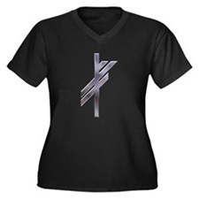 Viking Rune - Luck-silver Women's Plus Size V-Neck
