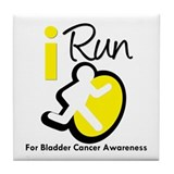 I Run Bladder Cancer Tile Coaster
