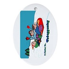 I'd Rather Be Tobogganing Oval Ornament