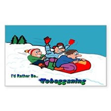 I'd Rather Be Tobogganing Rectangle Decal