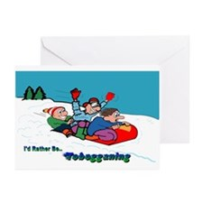 I'd Rather Be Tobogganing Greeting Cards (Pk of 10