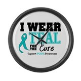 IWearTeal For The Cure Large Wall Clock