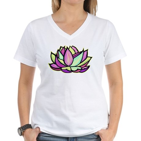 painted lotus flower Women's V-Neck T-Shirt