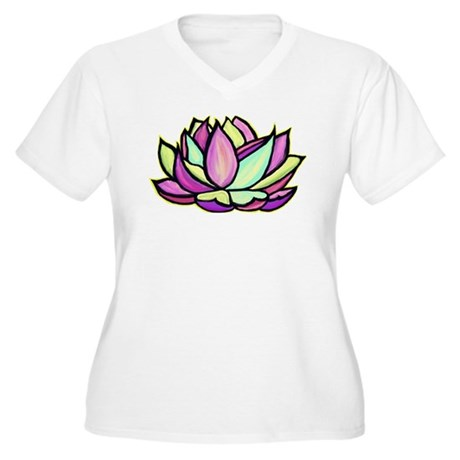 painted lotus flower Women's Plus Size V-Neck T-Sh