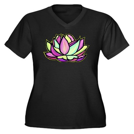 painted lotus flower Women's Plus Size V-Neck Dark