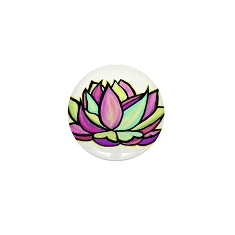 painted lotus flower Mini Button