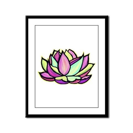 painted lotus flower Framed Panel Print