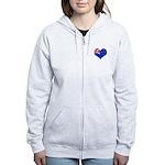 New Zealand Flag Heart Women's Zip Hoodie