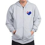 New Zealand Flag Heart Zip Hoodie