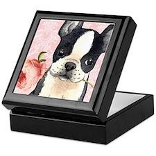 Boston Terrier Rose Keepsake Box