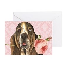 Basset Hound Rose Greeting Card