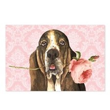 Basset Hound Rose Postcards (Package of 8)
