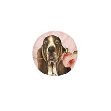 Basset Hound Rose Mini Button (10 pack)