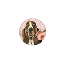 Basset Hound Rose Mini Button