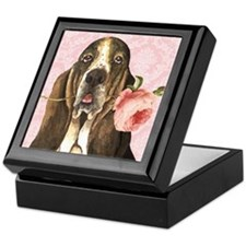 Basset Hound Rose Keepsake Box