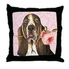 Basset Hound Rose Throw Pillow