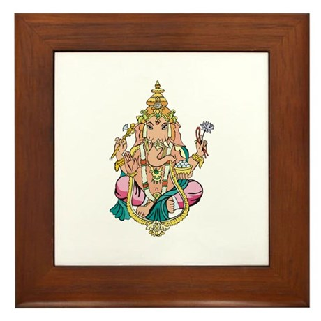 Yoga Ganesh Framed Tile