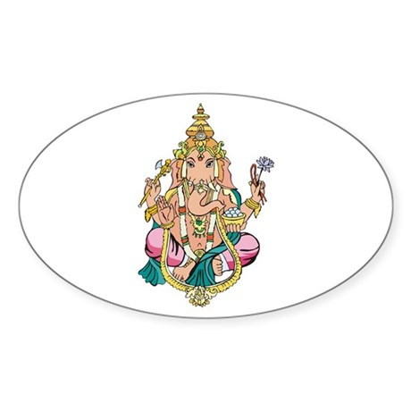 Yoga Ganesh Oval Sticker