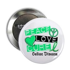 "PEACE LOVE CURE Celiac Disease (L1) 2.25"" Button ("