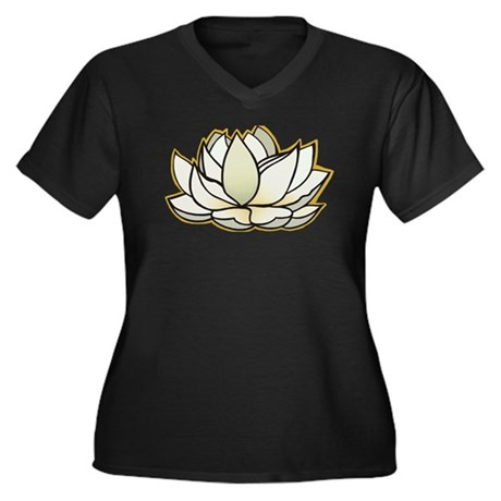 yoga lotus flower Women's Plus Size V-Neck Dark T-