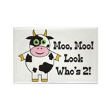 Cute Cow 2nd B-day Rectangle Magnet (10 pack)