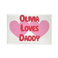 Olivia Loves Daddy Rectangle Magnet