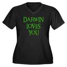 Darwin Loves You Women's Plus Size V-Neck Dark T-S