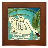 Swan Lake Framed Art Tile Plaque