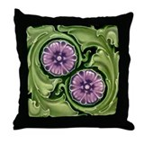 Art Nouveau Flowers Art Tile 18x18 Throw Pillow