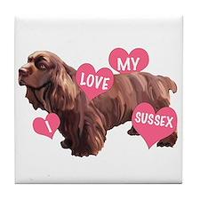 Sussex Spaniel Love Tile Coaster
