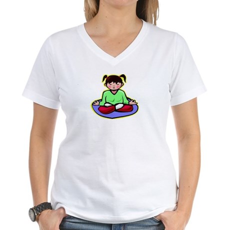 Little yoga girl Women's V-Neck T-Shirt